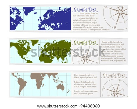 set of labels with world map - stock vector