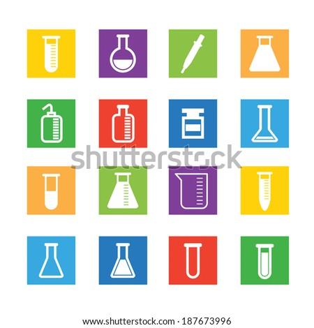 set of laboratory equipment - stock vector