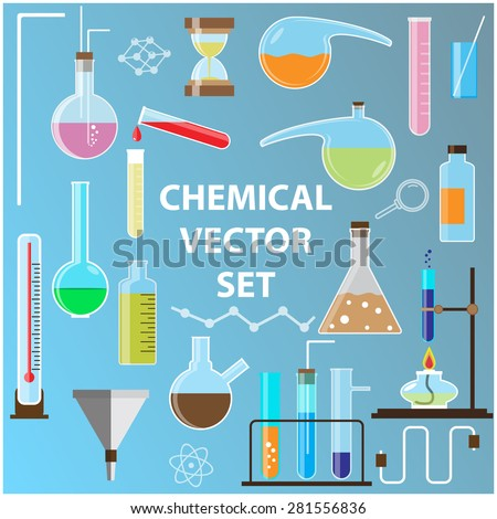 Set of laboratory flasks. Chemistry objects in flat design. - stock vector