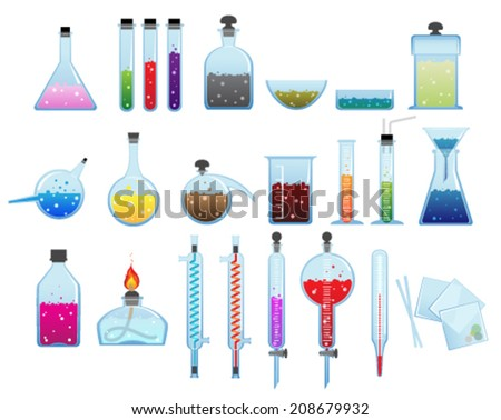 Set of laboratory glassware and equipment on a white background - stock vector