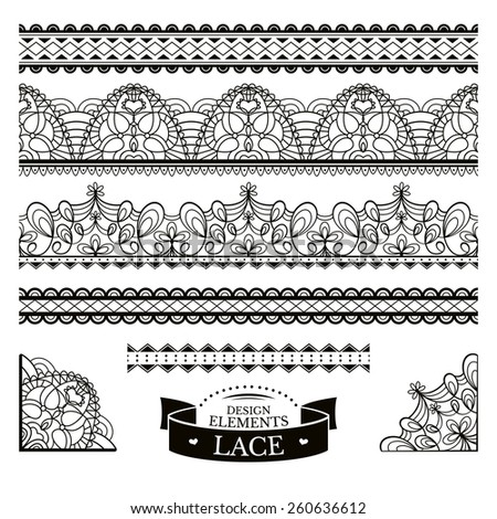 Set of lace patterns vector illustration