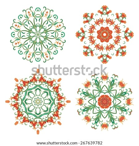 Set of laced flourish rosettes - stock vector