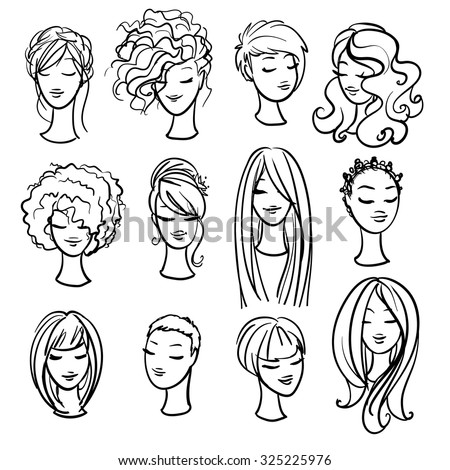 Set of ladys haircuts and styling - stock vector