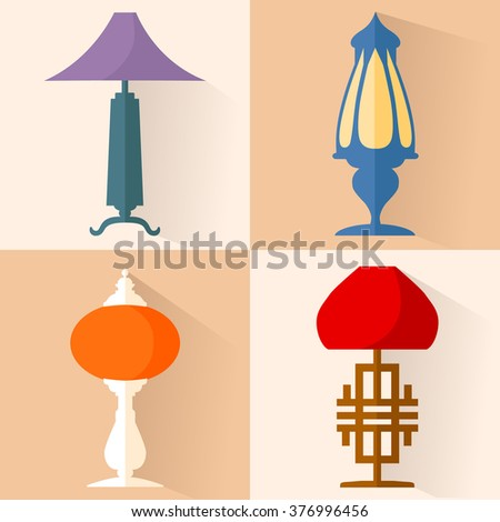 Set of lamps in oriental style. ?ollection of vector icons of table lamp. - Lamp Base Stock Images, Royalty-Free Images & Vectors Shutterstock