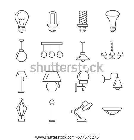 Set Lamps Related Vector Line Icons 677576275