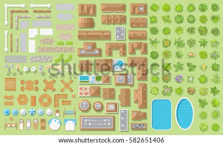 Set Of Landscape Elements. Houses, Architectural Elements, Furniture,  Plants. Top View