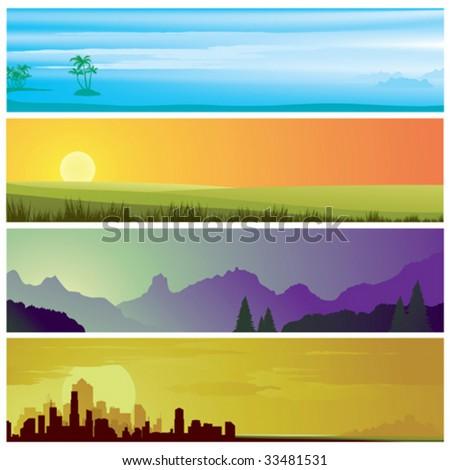set of landscape scenes banners - stock vector