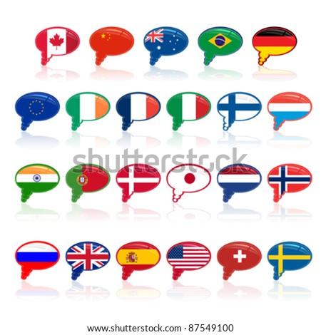 set of  language bubble with flags, vector - stock vector