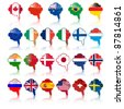 set of language bubbles with flags, vector - stock vector