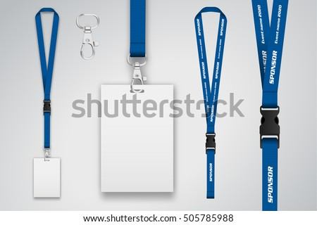 Set Lanyard Badge Metal Piece Template Stock Vector HD Royalty Free - Free lanyard template