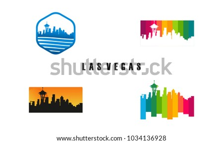 Set Las Vegas City Silhouette Template Stock Vector 1034136928 ...