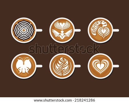 Set of Latte Art White Cup - stock vector