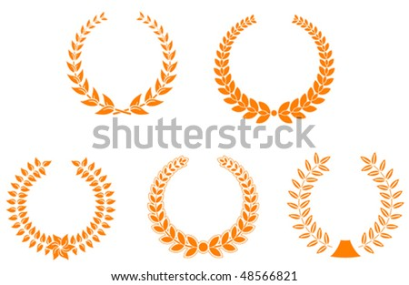 Set of laurel wreaths for design and decorate or logo template. Jpeg version is also available  - stock vector