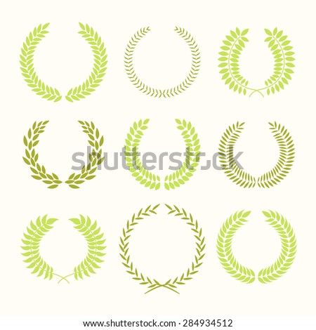 Set of laurel wreaths. Heraldic round element of wheat or laurel. Award a mark of distinction.