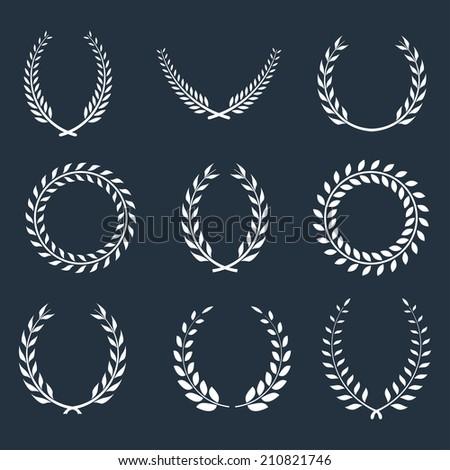 set of laurel wreaths. vector eps8 - stock vector