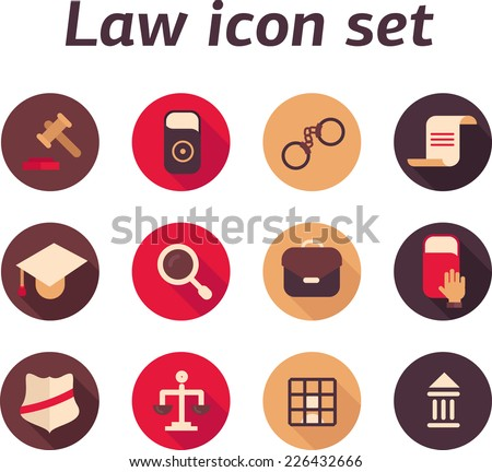Set of law icons with long shadow with book and police sign - stock vector