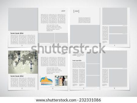 Set of layouts. Open magazine, vector Illustration. - stock vector