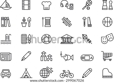 Set of LEISURE outlined icons - stock vector