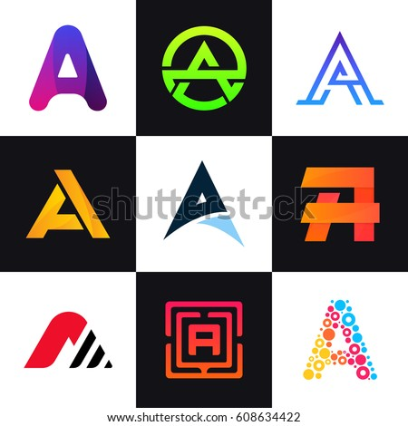 set letter logos company icon signs stock vector 608634422 rh shutterstock com sign logo design sign logos free