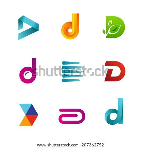 Set of letter D logo icons design template elements. Collection of vector signs. - stock vector
