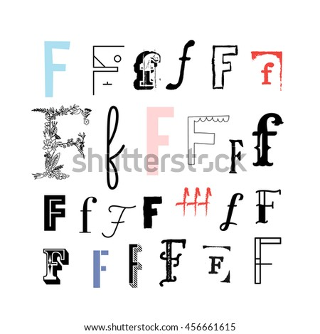 Set Of Letter F In Different Style Collection Alphabet Symbols Vector Illustration