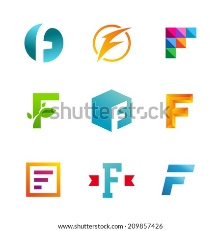 Set of letter F logo icons  F Logo Design Vector