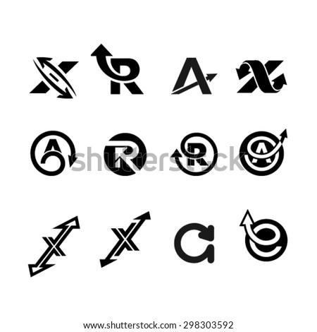 Set of letter logo design template elements. Business logo Set  - stock vector