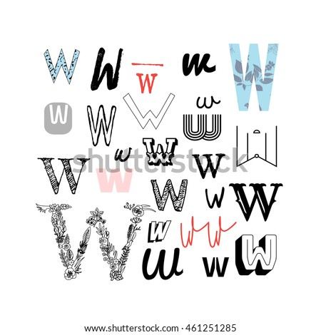 Set Of Letter W In Different Style Collection Alphabet Symbols Vector Illustration