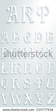 Set of letters art deco illustration flat design - stock vector