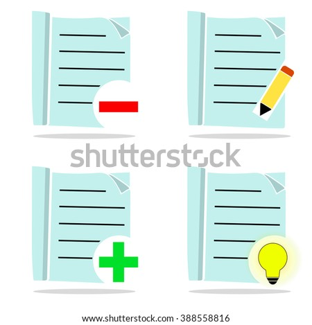 Set of light blue icons, editing - stock vector