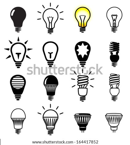 Set of light bulbs icons. Vector illustration. - stock vector