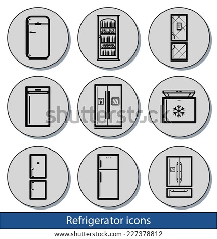 Set of light refrigerator icons with reflection line and thin lines - stock vector
