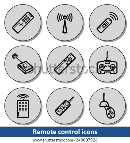 Set of light remote control icons with reflection line and thin lines - stock vector