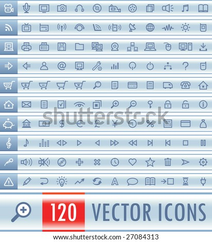 Set of 120 light vector web icons - stock vector
