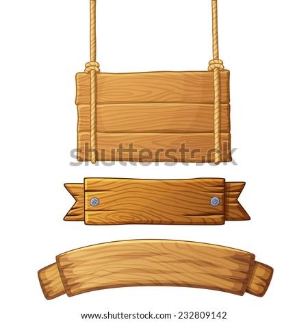 Set of light wooden banners. Vector illustration.  - stock vector