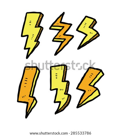 set of lightning doodle - stock vector