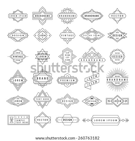 Set of line abstract geometric logotypes. Vector illustration. Hipster style. - stock vector