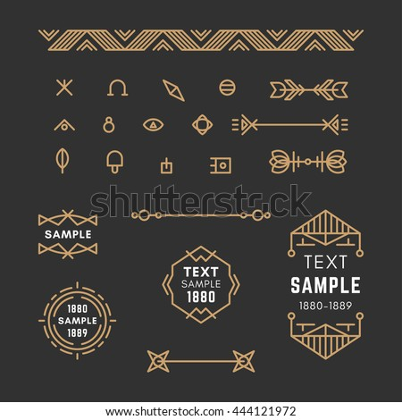 Set of Line Art Decorative Geometric Vector Frames and Borders with Golden and Black Colors. Vector Ornaments, Decoration, Line Ornament, Logos, Labels - stock vector