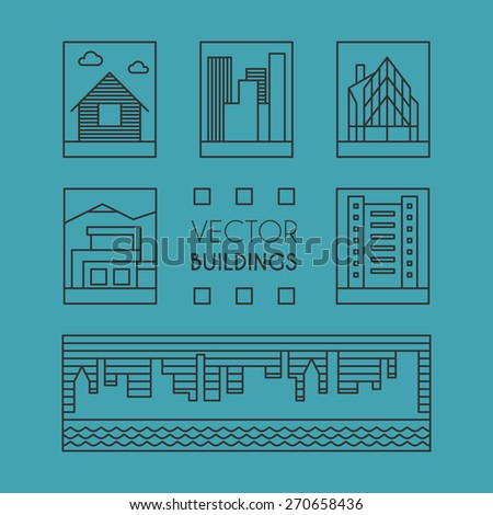 Set of Line Art Illustrations of Buildings. Thin Line Graphic Vector Design