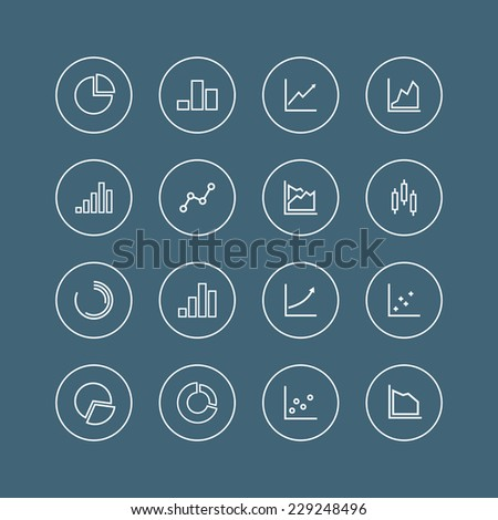 Set of line chart and diagram icons. Isolated on blue background. Vector illustration, eps 8. - stock vector