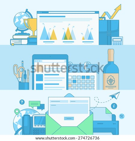 Set of line concept banners with flat design elements. Concepts for business, contact page banner, communication, events page banner, about us page banner. - stock vector