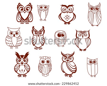 Set of line drawn cartoon vector owls characters with cute expressions and large eyes in brown and white - stock vector
