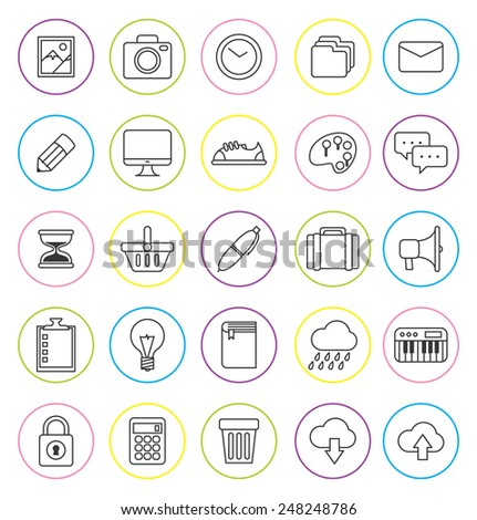 set of line icon - stock vector