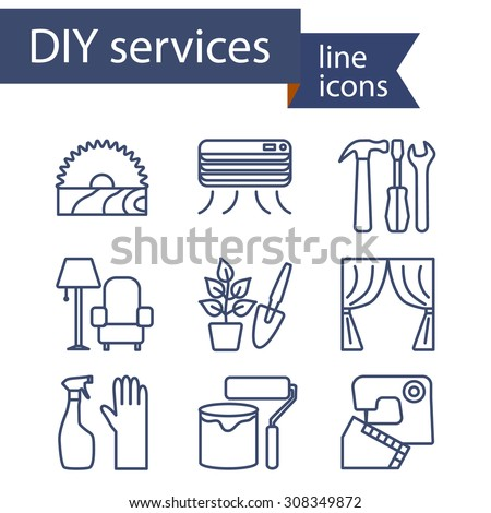 Set of line icons for DIY services. Vector illustration. - stock vector