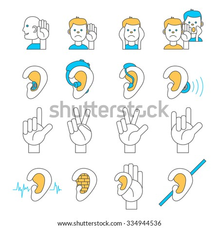 Set of 16 line icons for hearing problems. Collection of thin line vector icons for hearing loss, hard of hearing, deafness, hearing aids, hearing test, sign language etc.  - stock vector