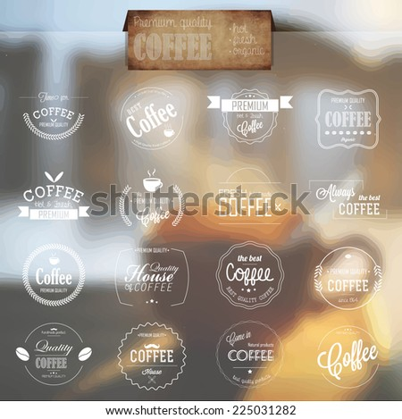 Set of line labels for bio, organic and natural coffee. Badges and labels for coffee promotional material. - stock vector