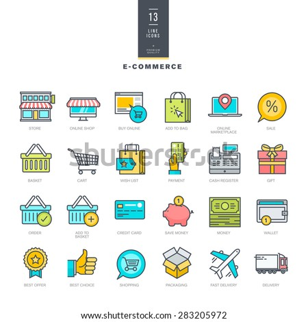 Set of line modern color icons for e-commerce      - stock vector