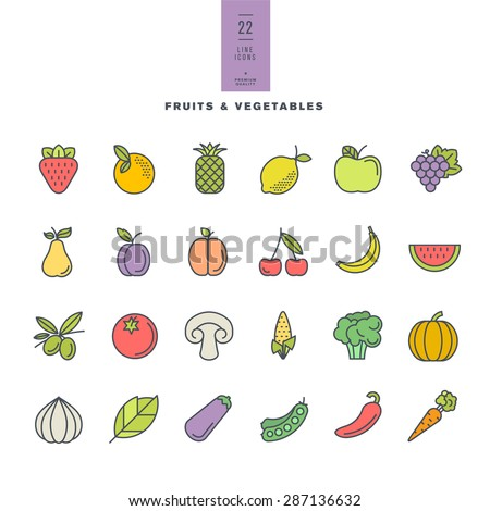 Set of line modern color icons for fruit and vegetables     - stock vector