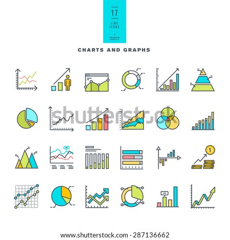 Set of line modern color icons of charts and graphs     - stock vector