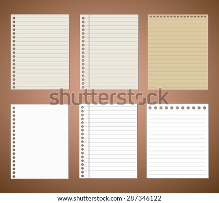 Set of line paper and note paper  - stock vector